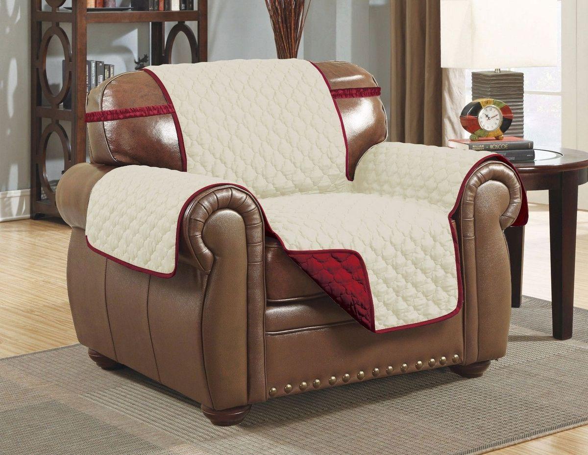 Чехол на кресло Медежда Йорк, двухсторонний, цвет: бордовый, бежевый1601121209002Практичный двухсторонний чехол на кресло Медежда Йорк, изготовленный из прочной стеганой микрофибры, идеально подходит для создания комфорта и уюта в повседневной жизни. Благодаря ремешку и резинке чехол не будет сползать со спинки кресла, а дополнительные фиксаторы, входящие в комплект позволят плотно закрепить его между спинкой и сидением. такой чехол - стильное решение, которое защитит вашу мебель от шерсти домашних животных, пятен и износа. Характеристики:Состав: 100%полиэстер. Ширина чехла: 55 см.
