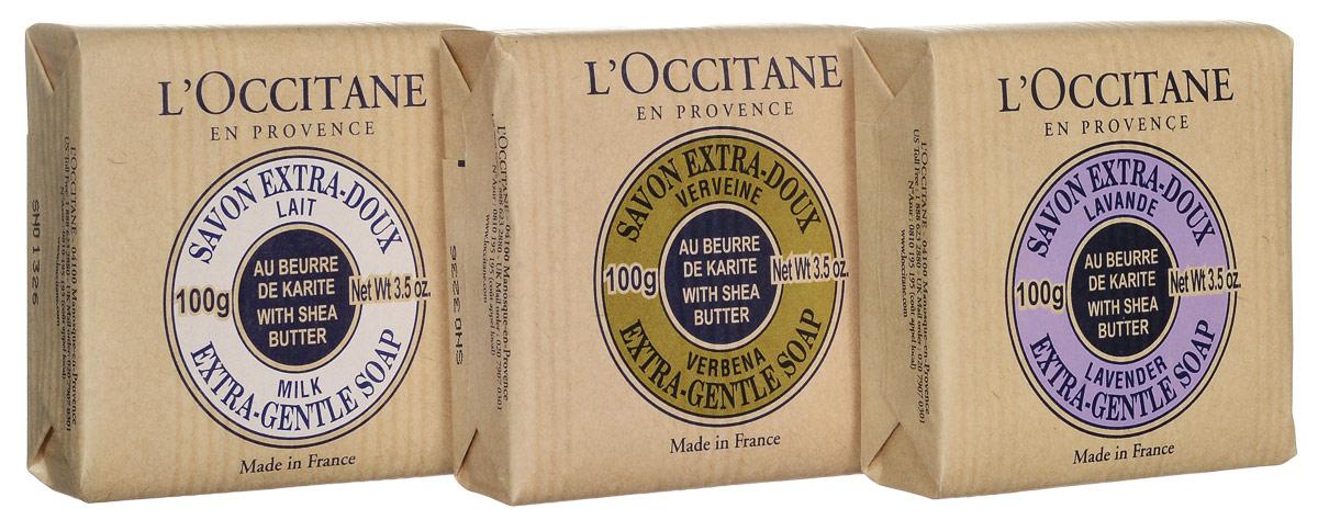 "L`Occitane Набор ""Мыльное трио"": Мыло туалетное Вербена 100гр, Мыло туалетное Лаванда 100гр, Мыло туалетное Молоко 100гр, L'Occitane En Provence"