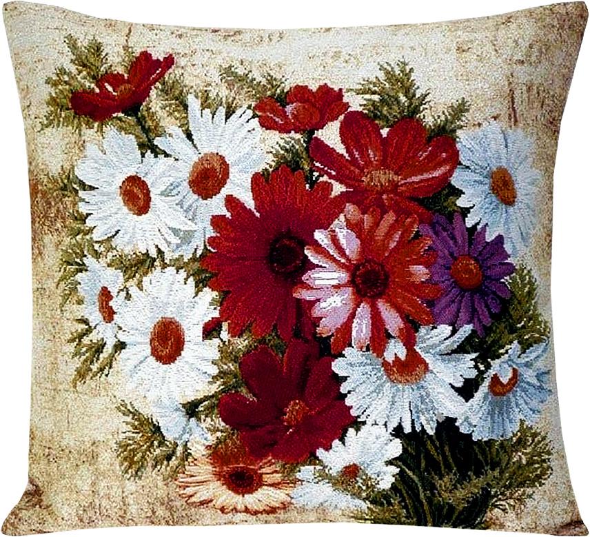 Подушка декоративная Рапира Герберы с ромашками, 45 х 45 см4188Декоративная подушка с наполнителем холлофайбер со съёмным чехлом намолнии, выполненным из жаккарда, - это яркий штрих в интерьере комнаты.Лицевая сторона - гобелен (жаккардовое ткачество), оборотная сторона - однотонная ткань типа плюш.