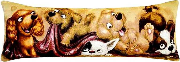 Подушка декоративная Рапира Баловни. Пять щенят, 35 х 85 см4717Декоративная подушка с наполнителем холлофайбер со съёмным чехлом на молнии, выполненным из жаккарда, - это яркий штрих в интерьере комнаты. Лицевая сторона - гобелен (жаккардовое ткачество), оборотная сторона -однотонная ткань типа плюш.