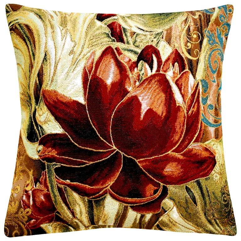Подушка декоративная Рапира Абрис. Пион, 45 х 45 см4743Декоративная подушка с наполнителем холлофайбер со съёмным чехлом на молнии, выполненным из жаккарда, - это яркий штрих в интерьере комнаты. Лицевая сторона - гобелен (жаккардовое ткачество), оборотная сторона -однотонная ткань типа плюш.