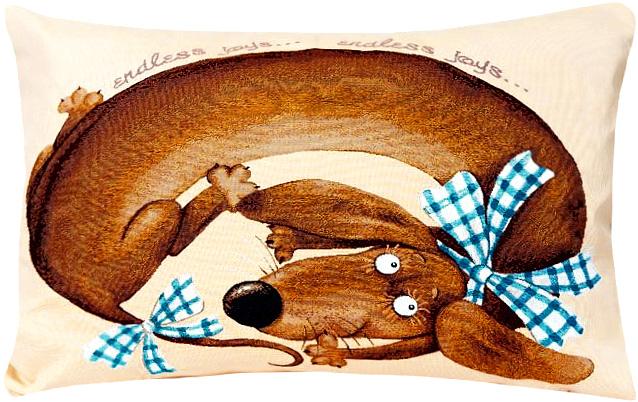 Наволочка декоративная Рапира Баловни. Такса Бантик, 50 х 70 см4824, 138494710Декоративная наволочка на молнии, выполненная из жаккарда, - это яркий штрих в интерьере комнаты. Лицевая сторона - гобелен (жаккардовое ткачество), оборотная сторона -однотонная ткань.