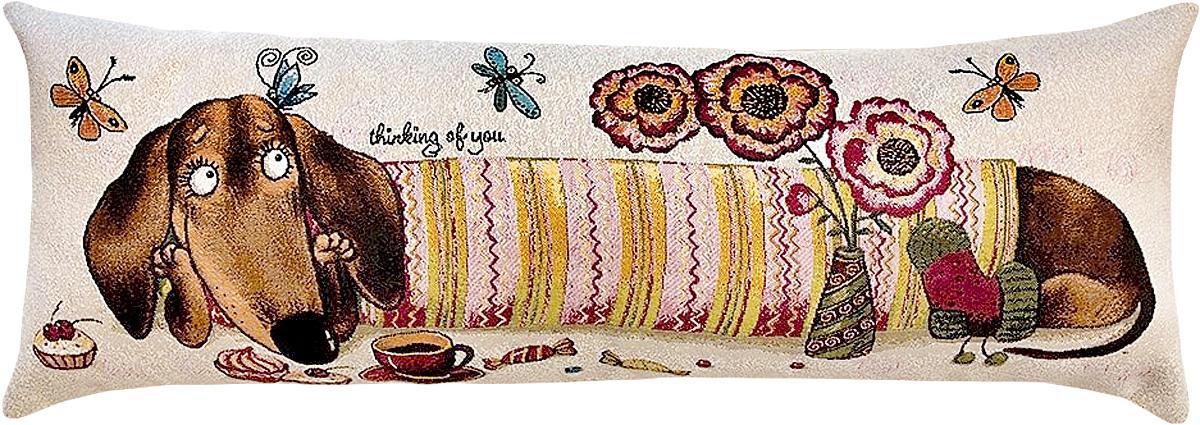 Подушка декоративная Рапира Баловни. Такса. Цветочек, 35 х 90 см подушка декоративная рапира игривые котята в корзине 35 х 90 см