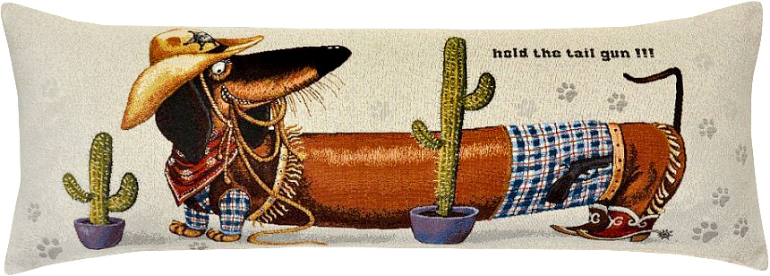 Подушка декоративная Рапира Баловни. Такса-ковбой, 35 х 90 см5114Декоративная гобеленовая подушка Рапира невероятно мягкая и приятная на ощупь. Съемный чехол подушки дополнен оригинальным рисунком и снабжен молнией. Лицевая сторона изготовлена из гобелена (жаккардовое ткачество, 100% хлопок), оборотная сторона - однотонная ткань типа плюш, выполненная из полиэфира. В качестве наполнителя используется холлофайбер. Такая подушка станет приятным дополнением к интерьеру любой комнаты.