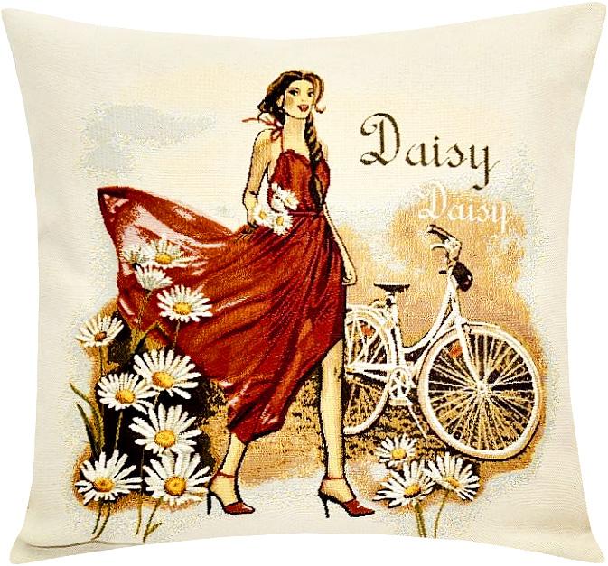 Подушка декоративная Рапира Леди ромашка, 45 х 45 см5228Декоративная подушка с наполнителем холлофайбер со съёмным чехлом на молнии, выполненным из жаккарда, - это яркий штрих в интерьере комнаты. Лицевая сторона - гобелен (жаккардовое ткачество), оборотная сторона -однотонная ткань типа плюш.
