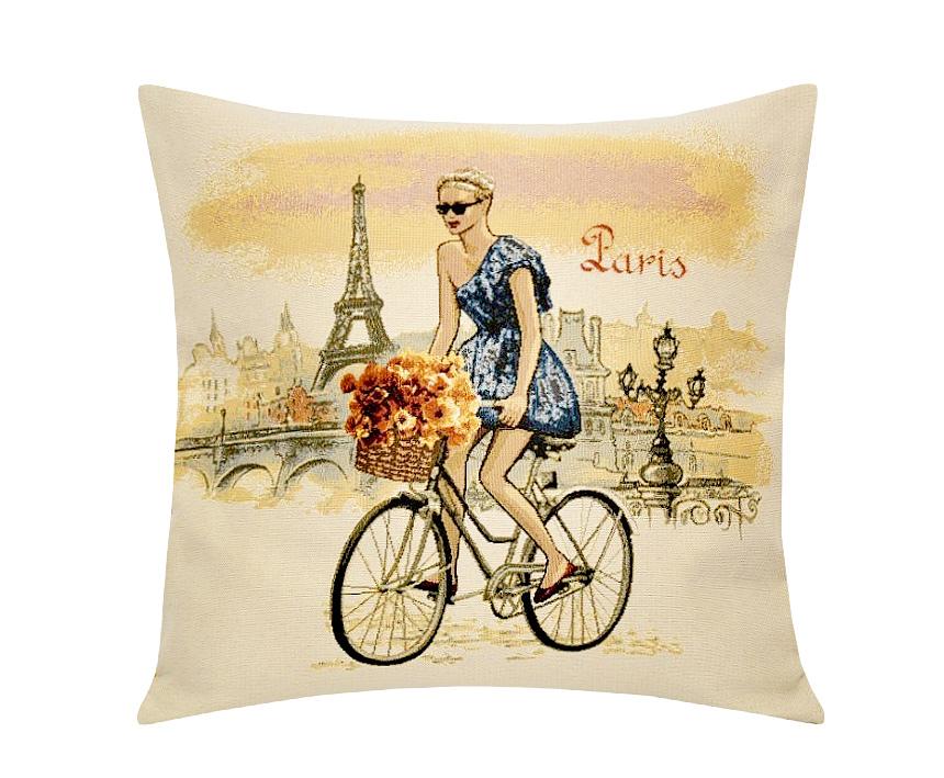 Подушка декоративная Рапира Леди. Париж, 45 х 45 см5233Декоративная подушка с наполнителем холлофайбер со съёмным чехлом на молнии, выполненным из жаккарда, - это яркий штрих в интерьере комнаты. Лицевая сторона - гобелен (жаккардовое ткачество), оборотная сторона -однотонная ткань типа плюш.