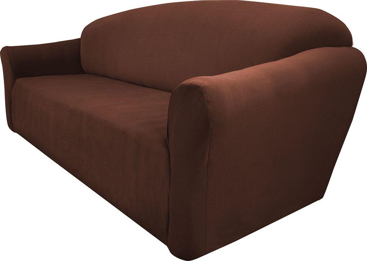 Чехол на двухместный диван Медежда Бирмингем, цвет: шоколадный1402031111002Чехол на двухместный диван Медежда Бирмингем изготовлен из стрейчевого велюра (100% полиэстер). Тонкий геометрический дизайн добавляет уют помещению. Велюр - по праву один из уверенных лидеров среди мебельных тканей. Поверхность велюра приятна для прикосновений. Сочетание нежности и прочности - визитная карточка велюра. Вещи из него даже спустя много лет смотрятся, как новые. Чехол легко растягивается и хорошо принимает форму дивана, подходит для большинства стандартных диванов с шириной спинки от 145 см до 185 см. За счет специальных фиксаторов чехол прочно держится на мебели, не съезжает и не соскальзывает. Имеется инструкция в картинках по установке чехла. Ширина спинки: 145 см-185 см. Длина подлокотника: 60-80 см см. Высота сиденья от пола: 45-50 см. Глубина сиденья: 45-55 см.