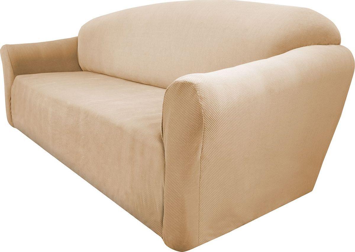 Чехол на трехместный диван Медежда Бирмингем, цвет: бежевый1403031103002Чехол на трехместный диван Медежда Бирмингем изготовлен из стрейчевого велюра (100 полиэстер). Тонкий геометрический дизайн добавляет уют помещению. Велюр - по праву один из уверенных лидеров среди мебельных тканей. Поверхность велюра приятна для прикосновений. Сочетание нежности и прочности - визитная карточка велюра. Вещи из него даже спустя много лет смотрятся, как новые. Чехол легко растягивается и хорошо принимает форму дивана, подходит для большинства стандартных диванов с шириной спинки от 185 см до 235 см. За счет специальных фиксаторов чехол прочно держится на мебели, не съезжает и не соскальзывает. Имеется инструкция в картинках по установке чехла. Ширина спинки: 185-235 см. Длина подлокотника: 60-80 см см. Высота сиденья от пола: 45-50 см. Глубина сиденья: 45-55 см.