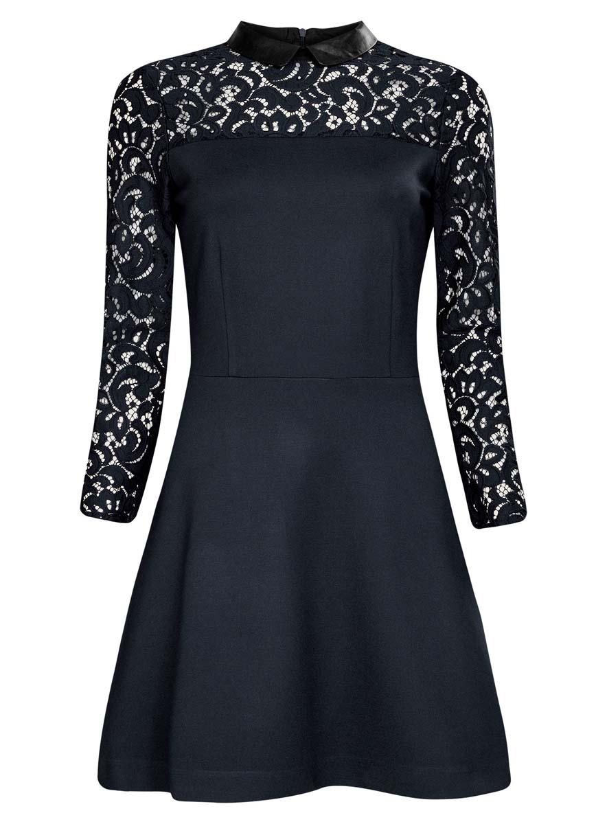 Платье oodji Ultra, цвет: темно-синий. 14000160/45248/7900N. Размер XS (42)14000160/45248/7900NСтильное платье oodji Ultra изготовлено из плотного трикотажа и кружева с отложным воротничком из искусственной кожи. Верх платья и рукава выполнены из кружевной ткани, полочка декорирована блестящими пластиковыми бусинами. Модель застегивается сзади на молнию.