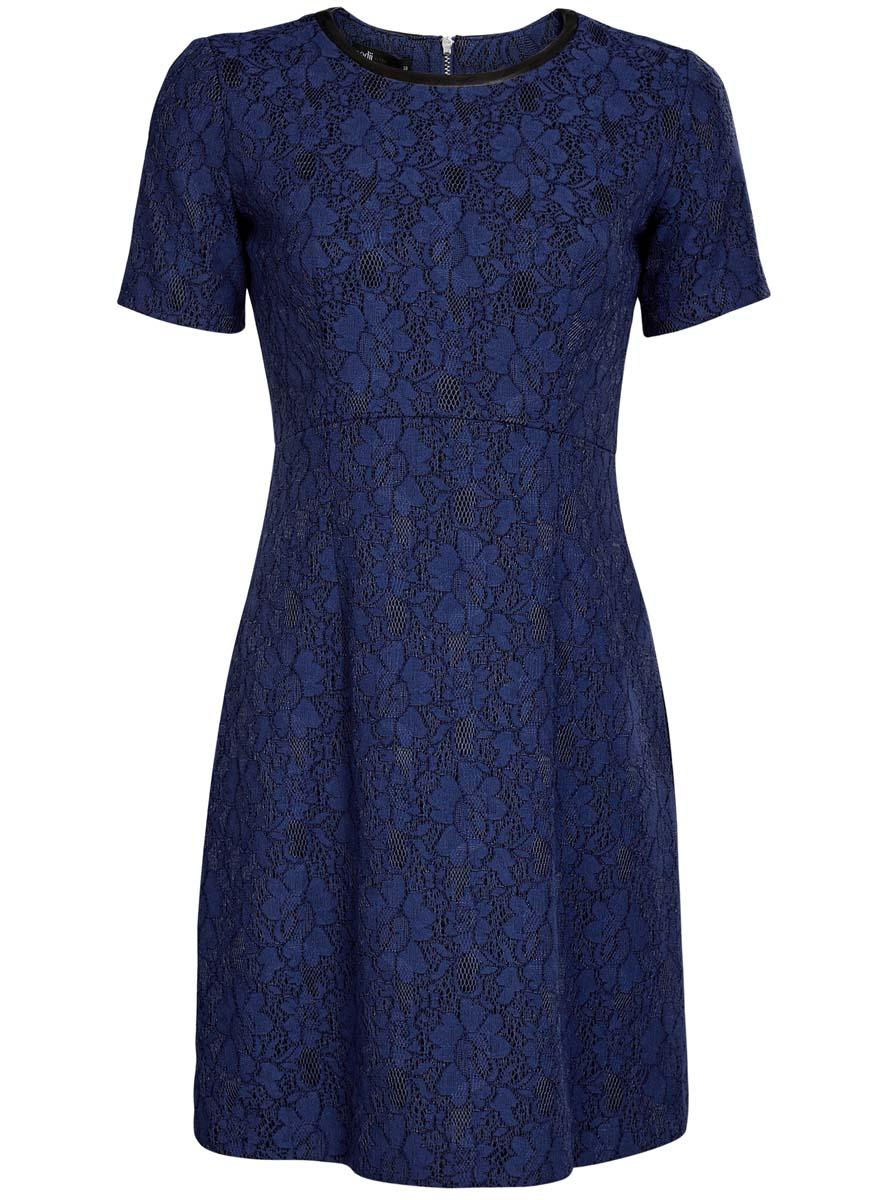 Платье oodji Ultra, цвет: синий, черный. 11900213/45991/2975L. Размер 34 (40-170)11900213/45991/2975LМодное платье oodji Ultra станет отличным дополнением к вашему гардеробу. Модель выполнена из качественного комбинированного материала на подкладке из полиэстера. Платье-миди с круглым вырезом горловины и короткими рукавами застегивается сзади по спинке на застежку-молнию. Верх модели изготовлен из элегантного кружева, а вырез горловины дополнен вставкой из искусственной кожи.