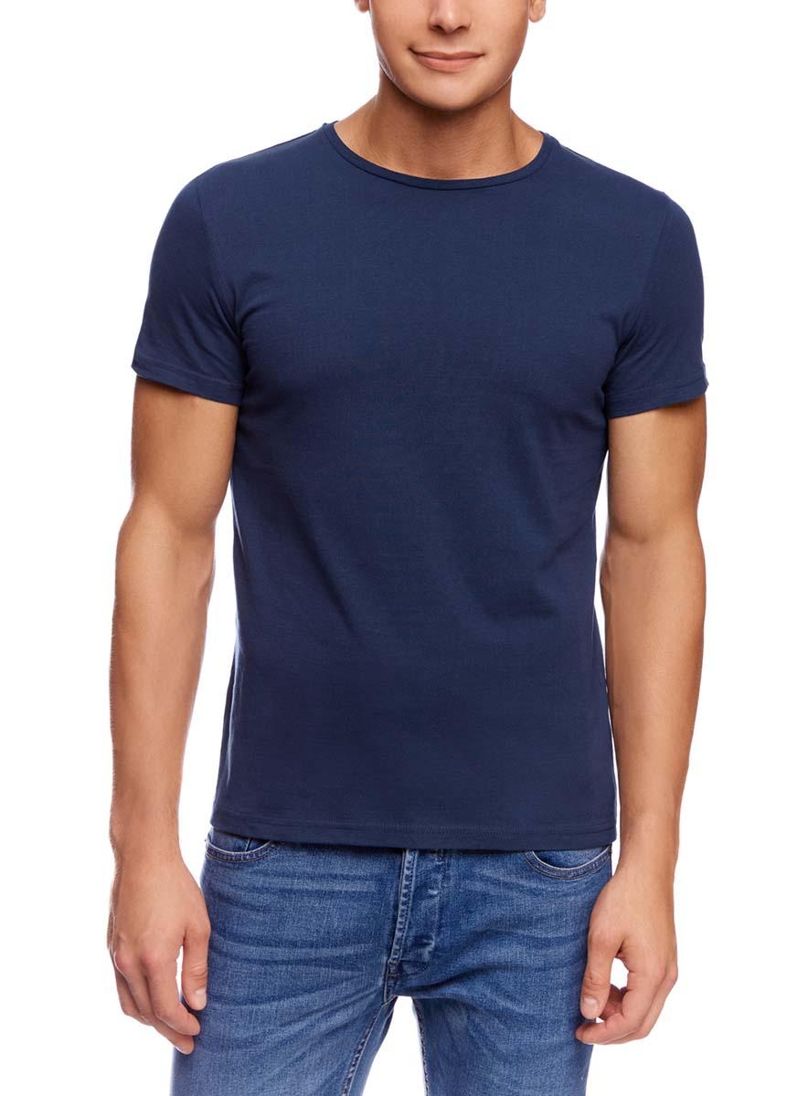 Футболка мужская oodji Basic, цвет: темно-синий. 5B621002M/44135N/7900N. Размер XS (44) футболка мужская mitre цвет синий t70001rh2 размер xs 44 46