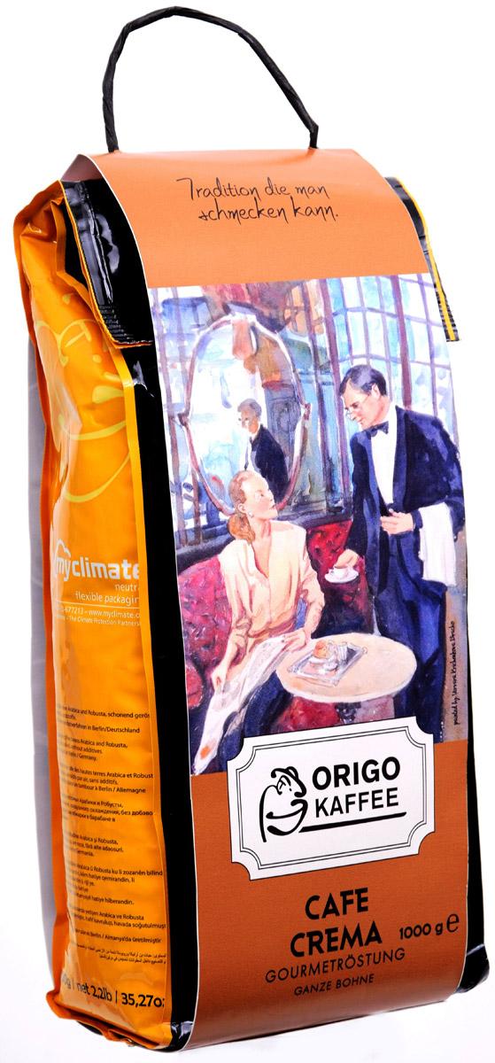 ORIGO Cafe Crema кофе в зернах, 1 кг3004001000Используя нежнейшие сорта высокогорной Арабики и высококачественную мытую Робусту, был получен отличный бленд с устойчивой пенкой крема, универсально подходящий как для эспрессо и американо, так и для приготовления капучино и латте. Cafe Crema обладает бархатистым ореховым вкусом и нежным послевкусием горького шоколада.Кофе: мифы и факты. Статья OZON Гид