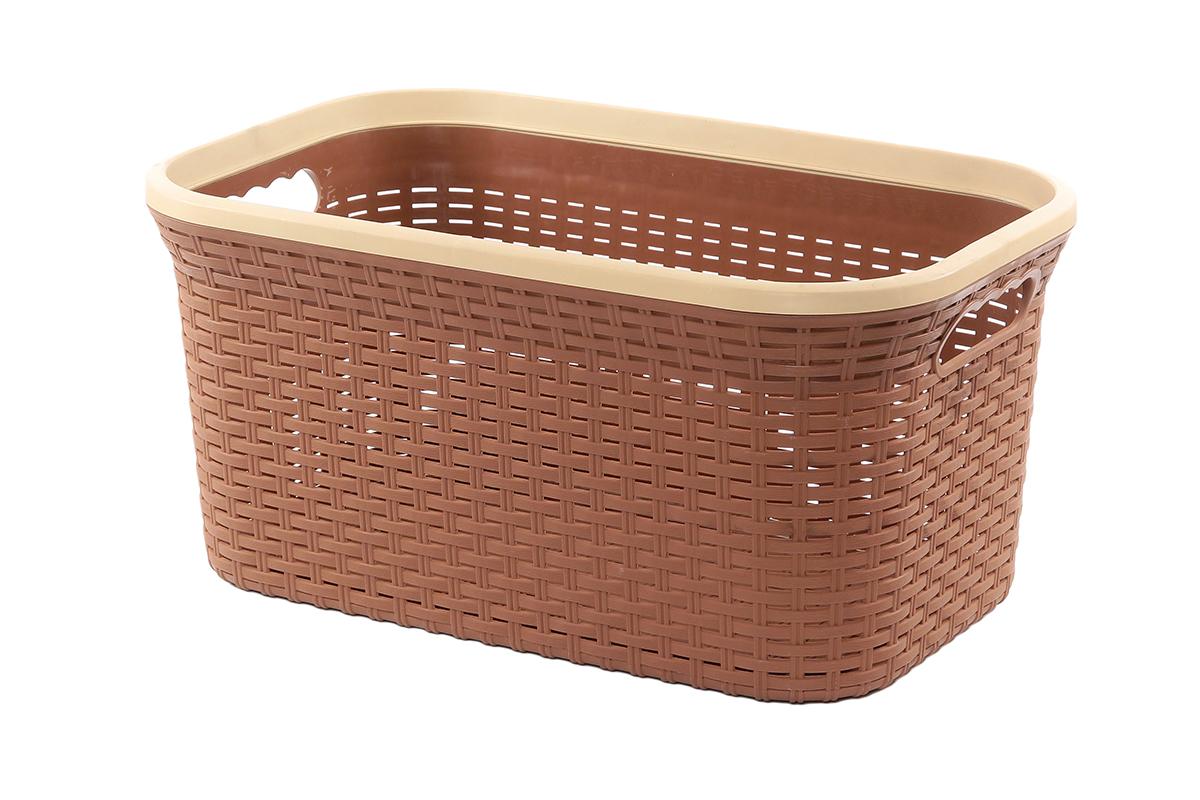 Корзина для хранения Violet Ротанг, цвет: коричневый, 50 х 33 х 25 см810549Прямоугольная корзина Violet Ротанг, изготовленная из полипропилена, имитирующая плетение ротанг, предназначена для хранения мелочей в ванной, на кухне, даче или гараже. Позволяет хранить мелкие вещи, исключая возможность их потери. Это легкая корзина со сплошным дном, жесткой кромкой, с небольшими отверстиями на стенках.
