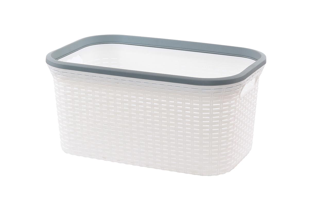 Корзина для хранения Violet Ротанг, цвет: белый, 50 х 33 х 25 см810553Прямоугольная корзина Violet Ротанг, изготовленная из полипропилена, имитирующая плетение ротанг, предназначена для хранения мелочей в ванной, на кухне, даче или гараже. Позволяет хранить мелкие вещи, исключая возможность их потери. Это легкая корзина со сплошным дном, жесткой кромкой, с небольшими отверстиями на стенках.