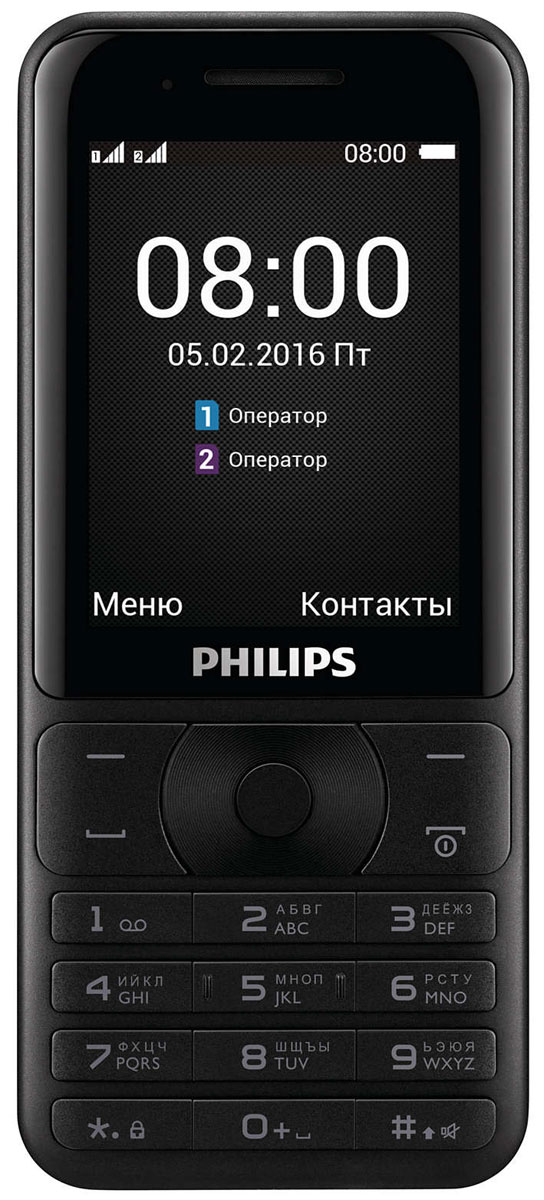 Philips Xenium E181, Black мобильный телефон philips e570 xenium dark gray