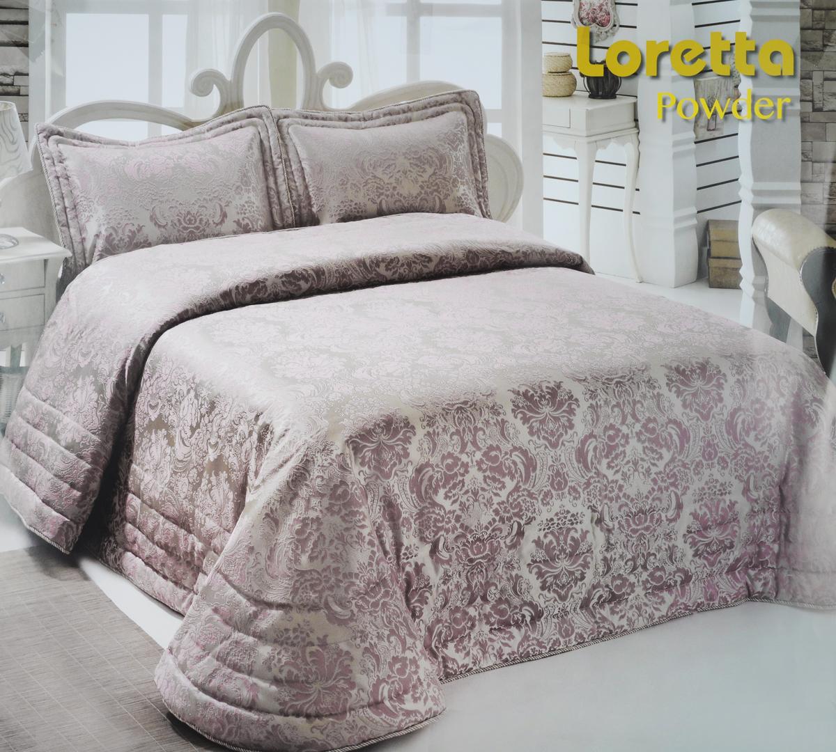 """Изысканный комплект для спальни Modalin """"Nazsu. Loretta"""" состоит из покрывала и двух наволочек. Изделия выполнены из высококачественного полиэстера и хлопка, легкие, прочные и износостойкие. Ткань блестящая, что придает ей больше роскошиКомплект Modalin """"Nazsu. Loretta"""" - это отличный способ придать спальне уют и комфорт.Размер покрывала: 250 х 270 см.Размер наволочек: 50 х 70 см."""