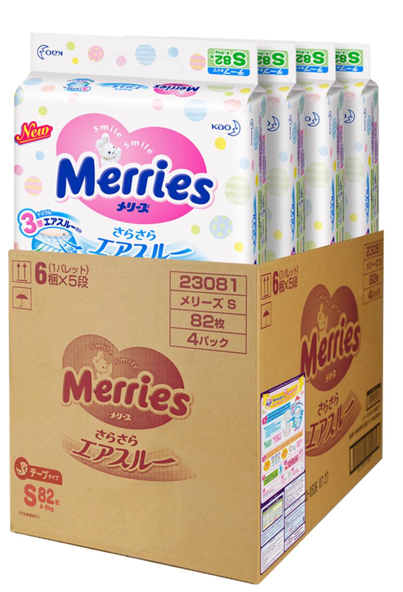 Merries Подгузники S 4-8 кг 82 шт 4 упаковки