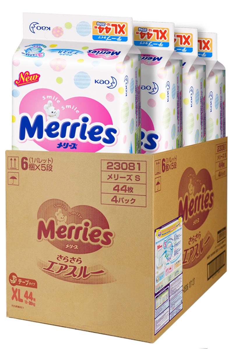 Merries Подгузники XL 12-20 кг 44 шт 4 упаковки