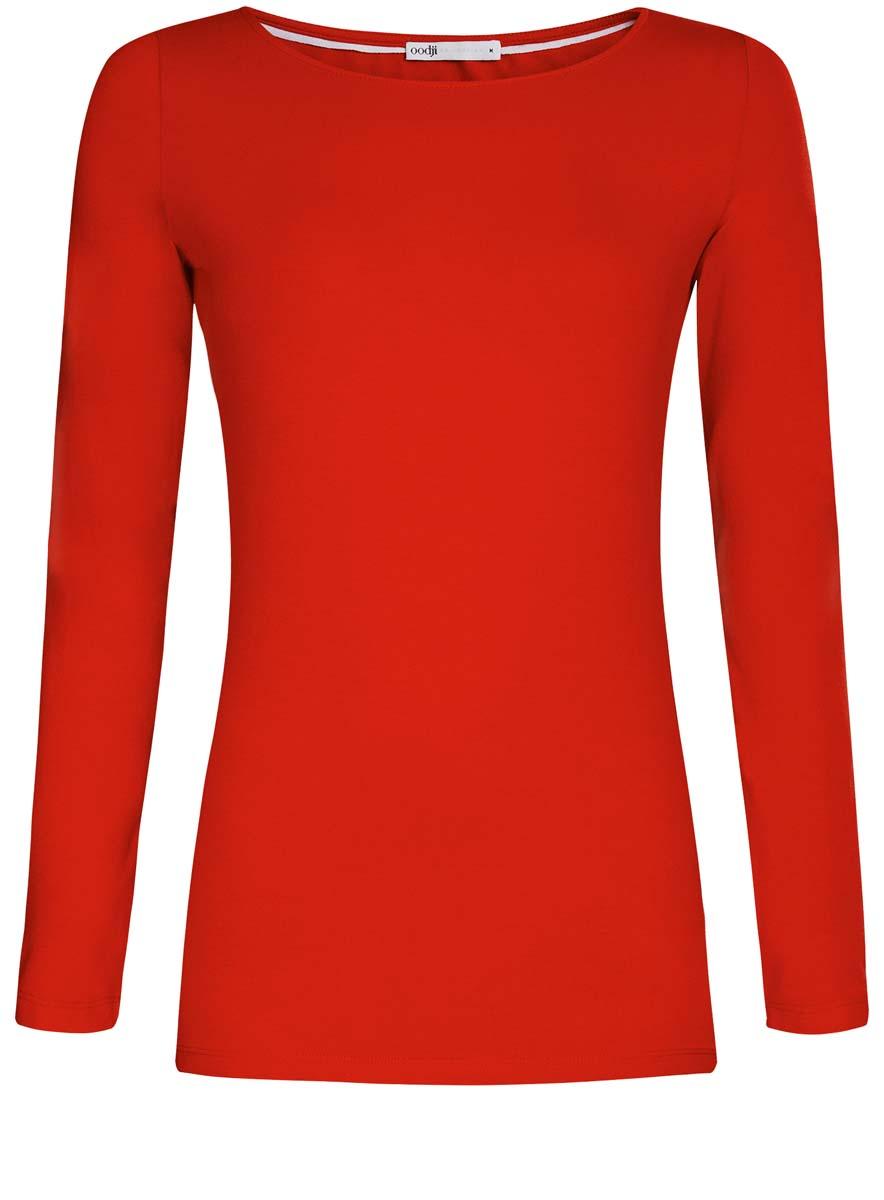 Купить Лонгслив женский oodji Collection, цвет: красный. 24201007B/46147/4500N. Размер L (48)