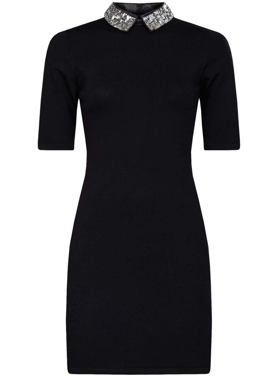 Платье oodji Collection, цвет: черный. 73912222/46083/2900N. Размер M (46)73912222/46083/2900NМодное платье oodji Collection выполнено из высококачественного комбинированного материала. Модель по фигуре с отложным воротником с крупными стразами и короткими рукавами застегивается на спинке на молнию и крючки.