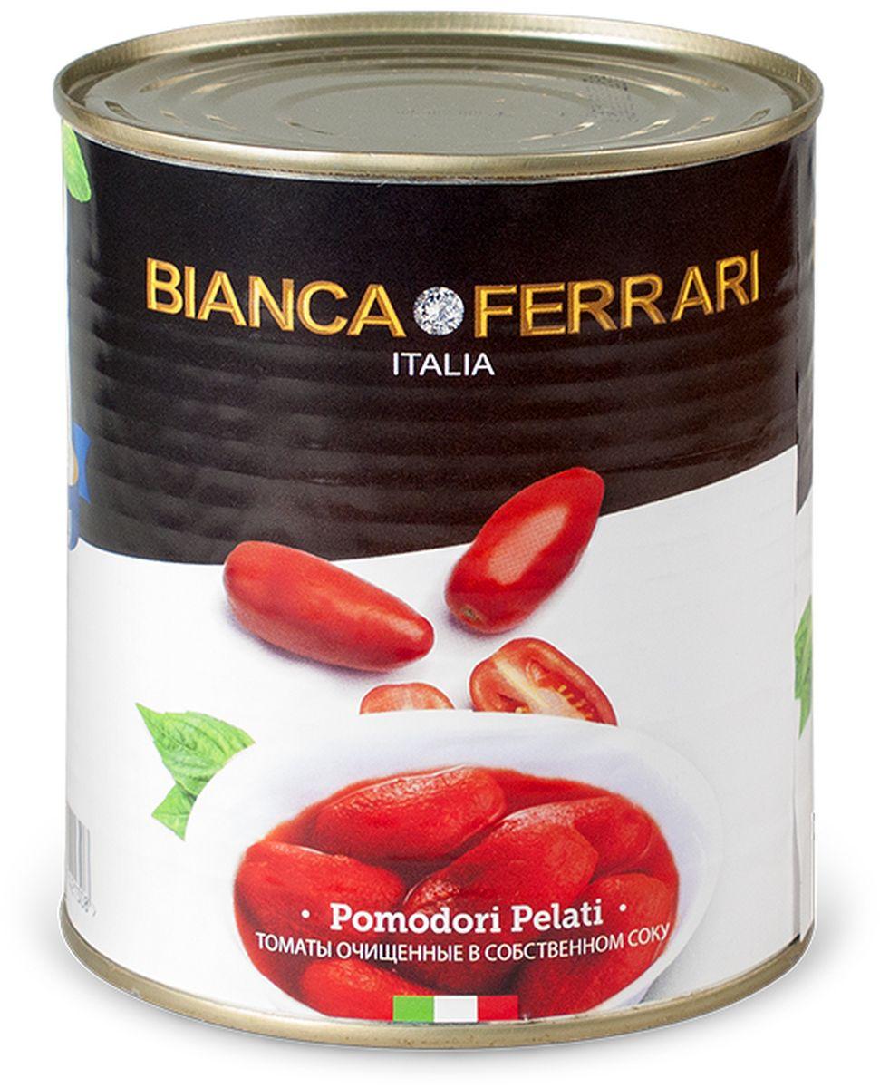 Bianka Ferrari помидоры очищенные пелати в собственном соку, 800 г50800032Целые очищенные сочные итальянские томаты в собственном соку.Используются исключительно летние томаты. Яркие, сочные, сладкие томаты, вобравшие в себя тепло средиземноморского солнца, станут украшением любого стола. Такие томаты прекрасно подходят как для самостоятельной закуски, так и для пиццы, пасты, тушеных овощей.