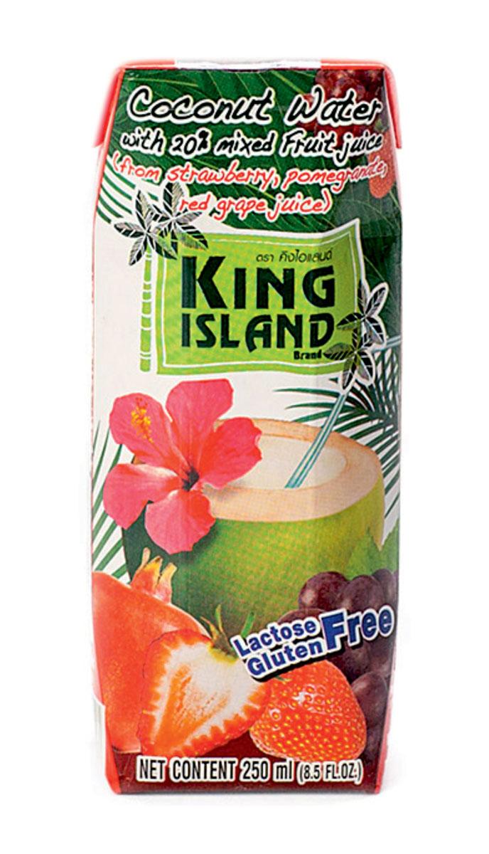 King Island кокосовая вода c соками клубники, винограда и граната, 250 мл напиток mychoice nutrition my fitness l carnitine 2700 shot клубника 9 x 60 мл