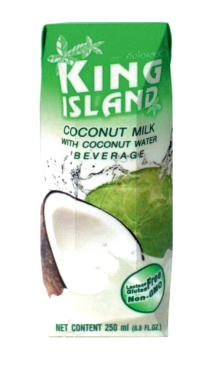 King Island кокосовый напиток, 250 мл2130020Натуральный микс кокосового молока и кокосовой воды. Этот напиток обладает не только замечательным мягким вкусом. Он вобрал в себя все лучшее, что может дать кокосовый орех. Лауриновая кислота, содержащаяся в кокосе, стабилизирует уровень холестерина в крови, снижая риск возникновения атеросклероза и сердечно-сосудистых заболеваний, а также является антибактериальным, антимикробным, антивирусным и антигрибковым средством.Жиры кокосового молока состоят из средних жирных кислот – триглицеридов, что помогает жиру быстро перерабатываться в энергию, не откладываясь в организме. Кокосовая вода – натуральный изотонический напиток. Утоляет жажду, восстанавливает водный баланс в организме, избавляет от инфекций мочевого пузыря. Она низкокалорийна, способствует нормализации уровня сахара в крови.Натуральный источник минералов: натрий, кальций, железо, магний, фосфор, медь, калий, селен, марганец, цинк, глюкоза. Содержит витамины: С, В-6,В-12, рибофлавин, ниацин, тиамин, пиридоксин, холин, фолаты. Продукт приготовлен и упакован с помощью методаультрапастеризациии не содержит консервантов.
