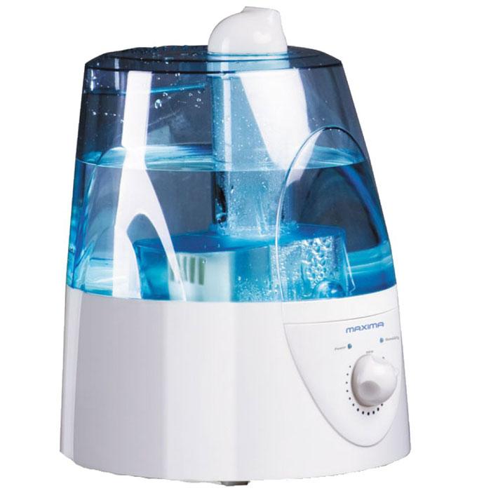 Увлажнитель воздуха Maxima MHF-3301Maxima MHF-3301Увлажнитель воздуха Maxima MHF-3301 - относится к ультразвуковым устройствам, оборудованным специальной мембраной. Она создает колебания, благодаря которым набранная вода преобразовывается в легкое туманное облако и очищает воздух в вашем доме.Резервуар в приборе рассчитан на запас воды в 3.5 л. Если он заканчивается, увлажнитель самостоятельно прекращает работу. При всей своей функциональности устройство потребляет всего 20 Вт энергии и может работать бесперебойно 14 часов подряд.Прибор оборудован специальным индикатором низкого уровня жидкости, который оповестит вас о том, что нужно залить воду до того, как она закончится. Скорость создания пара и интенсивность обработки воздуха можно регулировать в зависимости от его сухости.Световой индикатор работыСветовой индикатор отсутствия воды Длина шнура: 1,6 м