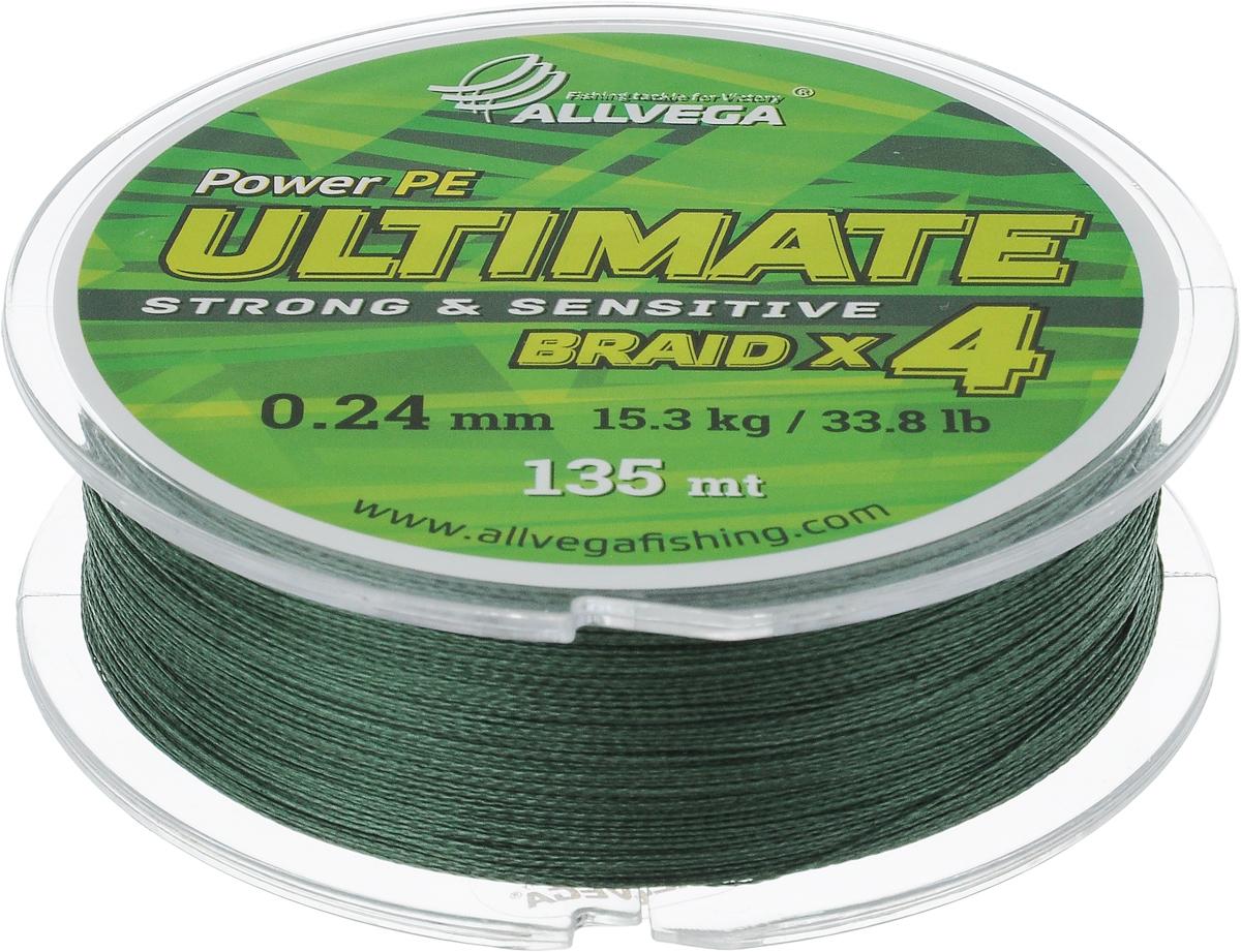 Леска плетеная Allvega Ultimate, цвет: темно-зеленый, 135 м, 0,24 мм, 15,3 кг