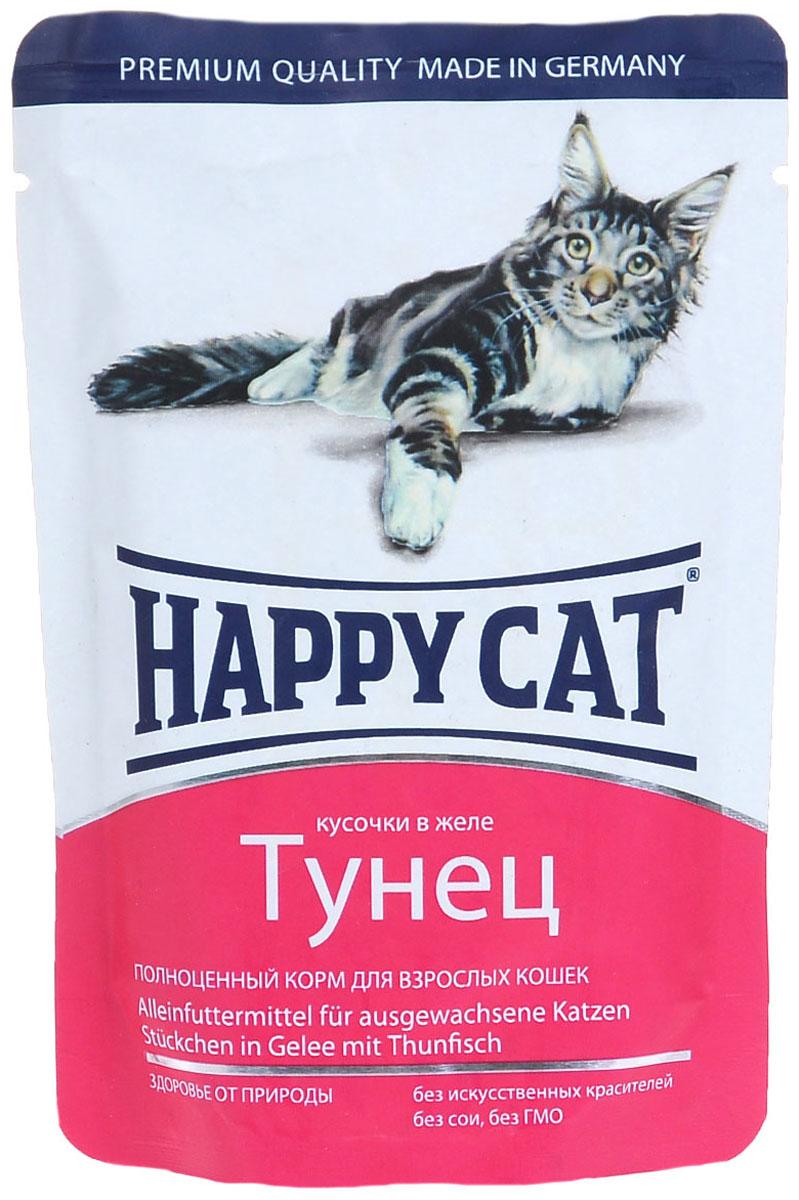 Консервы Happy Cat, для взрослых кошек, кусочки тунца в желе, 100 г1002309Консервы Happy Cat - это полноценный корм для взрослых кошек. Нежные кусочки из натуральных ингредиентов в ароматном желе прекрасно усваиваются и обладают хорошим вкусом, чтобы ваш котик с удовольствием съедал всю порцию без остатка. Консервы приготовлены без добавления сои, искусственных красителей и ГМО. Корм содержит целый комплекс витаминов и минералов, а именно: витамины B, C, E, A, PP, цинк, калий, железо, натрий, кобальт и другие. Йод улучшает деятельность щитовидной железы. Цинк необходим для заживления ран, укрепления иммунитета, нормальной работы почек и поджелудочной железы. В комплексе с витаминов D цинк улучшает усвояемость кальция костной тканью, а в комплексе с витаминами A, E и C, обладающими антиоксидантными свойствами, защищает клетки от воздействия свободных радикалов. Состав: мясо и мясопродукты, рыба и рыбные продукты (тунец 4%), минералы, инулин 0,1%.Аналитический состав: сырой протеин 8%, сырой жир 5%, сырая зола 2%, сырая клетчатка 0,3%, влажность 83%.Пищевые добавки на кг: таурин 445 мг, витамин Д3 250 ме, витамин Е (альфа-токоферолацетат) 15 мг, медь (сульфат марганца 2, моногидрат) 1 мг, биотин 20 мг, цинк 18 мг.Товар сертифицирован.Уважаемые клиенты! Обращаем ваше внимание на возможные изменения в дизайне упаковки. Качественные характеристики товара остаются неизменными. Поставка осуществляется в зависимости от наличия на складе.