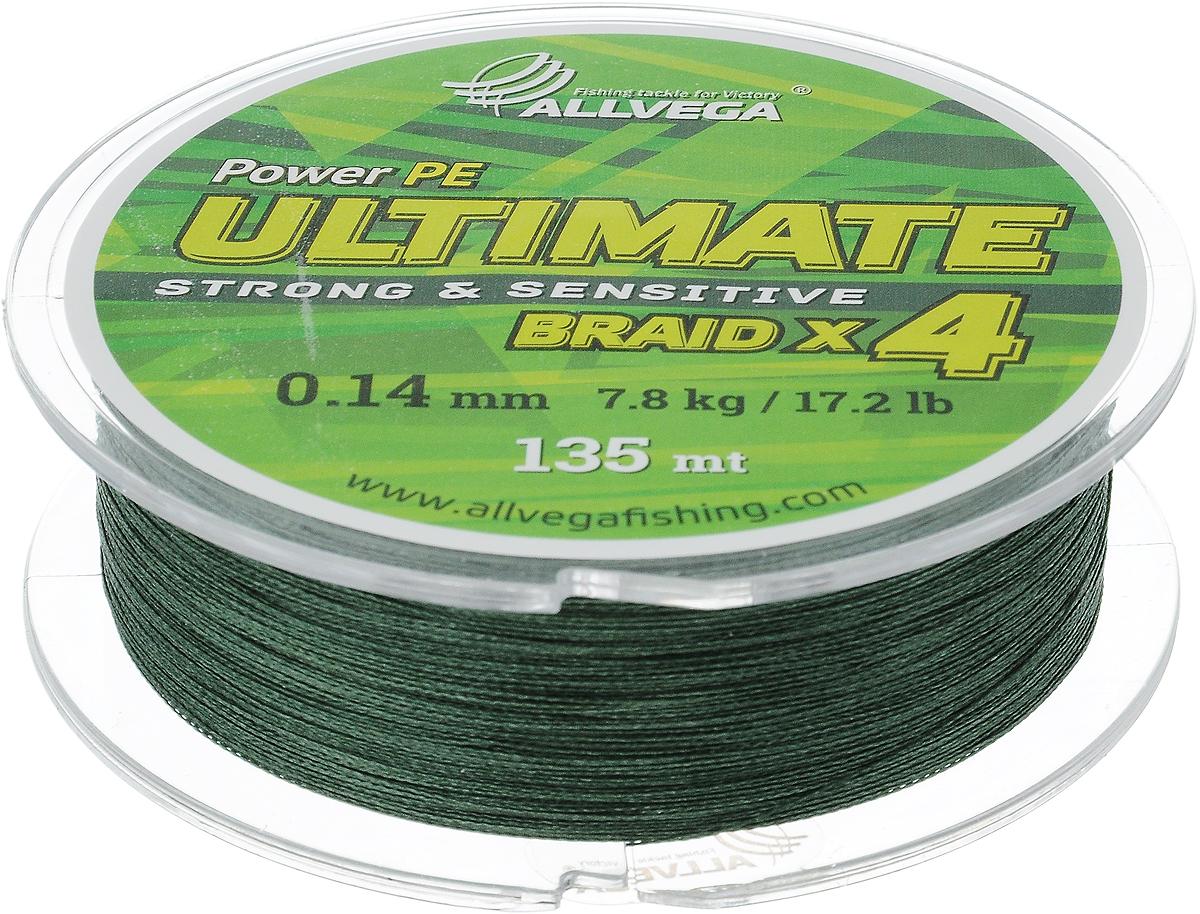 Леска плетеная Allvega Ultimate, цвет: темно-зеленый, 135 м, 0,14 мм, 7,8 кг