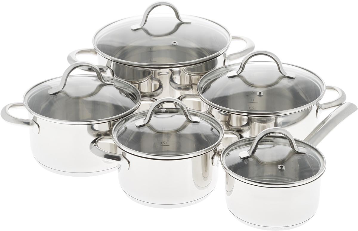 Набор посуды Tescoma Ambition, 10 предметов716410Набор посуды Tescoma Ambition состоит из 4 кастрюль разного литража и 1 ковша. Изделия выполнены из высококачественной нержавеющей стали 18/10 с трехслойным сэндвич-дном и герметичными ручками. Кастрюли и ковш снабжены стеклянными крышками с ручкой и металлическим ободом из нержавеющей стали, также имеется отверстие для выпуска пара. Отметки литража на внутренних стенках посуды позволяют соблюдать пропорции рецептуры без применения дополнительных предметов.Эргономичный дизайн и функциональность набора Tescoma позволят вам наслаждаться процессом приготовления любимых блюд. Изделия подходят для использования на газовых, электрических и стеклокерамических плитах, а также на индукционных. Можно мыть в посудомоечной машине.Внутренний диаметр кастрюль: 16 см; 18 см; 20 см; 24 см. Ширина кастрюль (с учетом ручек): 25 см; 27 см; 29 см; 35 см. Высота стенки кастрюль: 9 см; 10 см; 11 см; 14 см. Объем кастрюль: 1,5 л; 2,5 л; 3 л; 6 л. Диаметр дна кастрюль: 14,5 см; 16,7 см; 18,5 см; 22,5 см. Внутренний диаметр ковша: 14 см. Высота ковша: 8 см.Длина ручки ковша: 16 см. Объем ковша: 1 л. Диаметр дна ковша: 12,5 см.УВАЖАЕМЫЕ КЛИЕНТЫ! Обращаем ваше внимание на тот факт, что объем кастрюли указан максимальный, с учетом полного наполнения до кромки. Шкала на внутренней стенке кастрюли имеет меньший литраж.