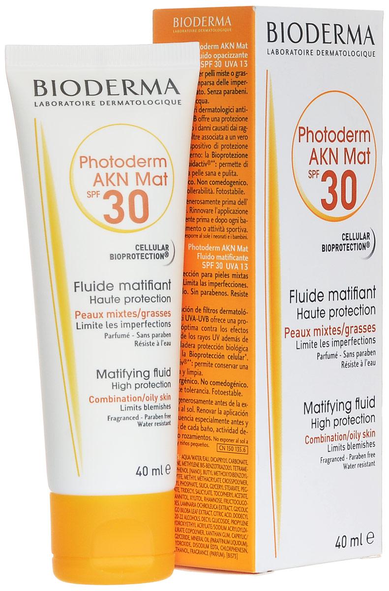 Bioderma Матирующая эмульсия Photoderm AKN, SPF 30, 40 мл110630582Защищает от UV. Предупреждает появление высыпаний. Предупреждает появление сального блеска. Можно использовать как увлажняющее средство.