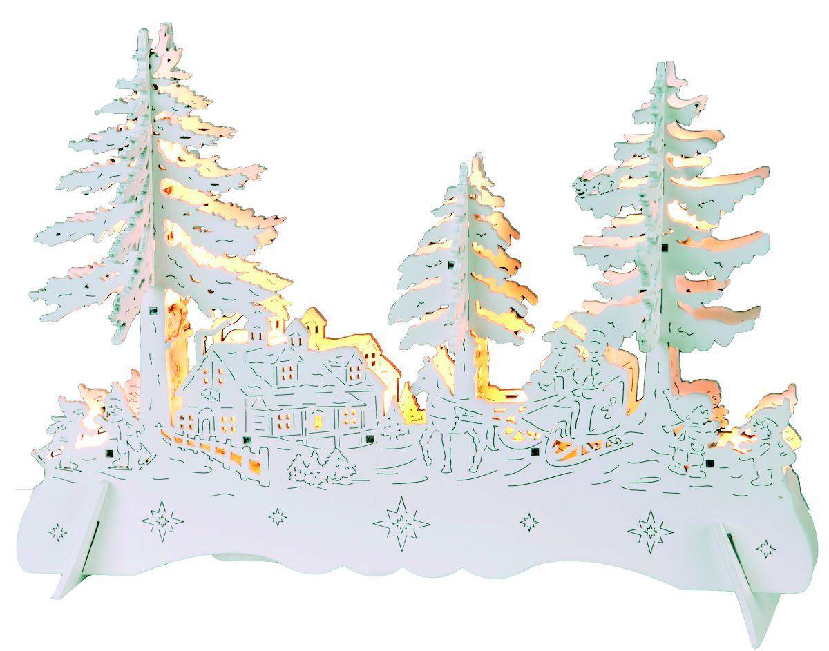 Декорация рождественская Star Trading Пейзаж, с подсветкой270-10Праздничная декорация Star Trading Пейзаж выполнена из качественной древесины в виде оригинальной композиции с деревьями и фигурками. Внутри декорации спрятаны лампы подсветки.Декорация оригинально украсит интерьер помещения и создаст в вашем доме атмосферу уюта и романтики, а также станет замечательным подарком.Количество ламп: 10 LED. Высота светильника: 28 см.Длина светильника: 20 см.Тип питания: батарейки.