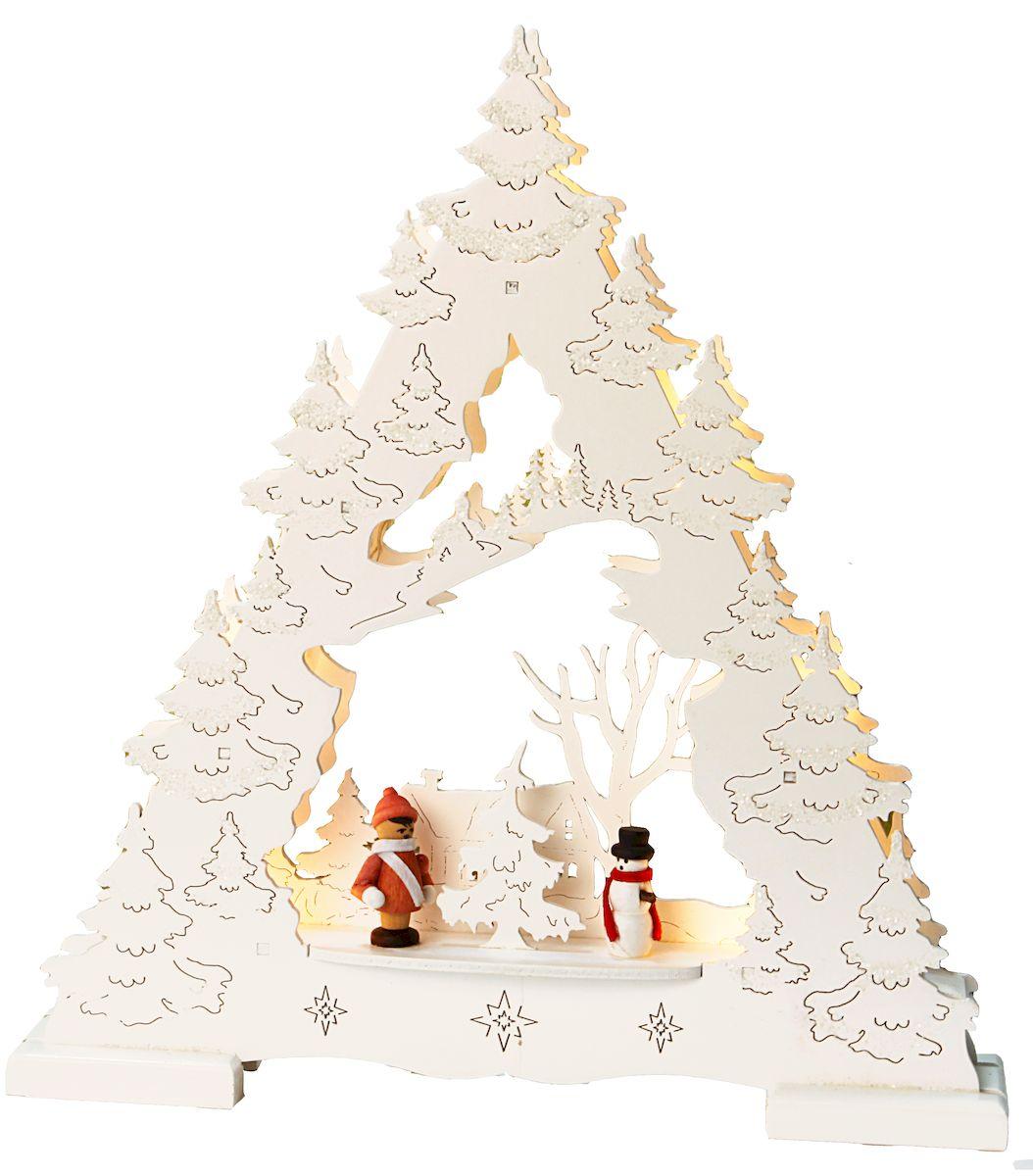 Декорация рождественская Star Trading Дерево, цвет: белый. 270-25270-25Декорация рождественская ДЕРЕВО, 7 свечей ,выс/шир 28х26 см, LED, на батарейке, белый