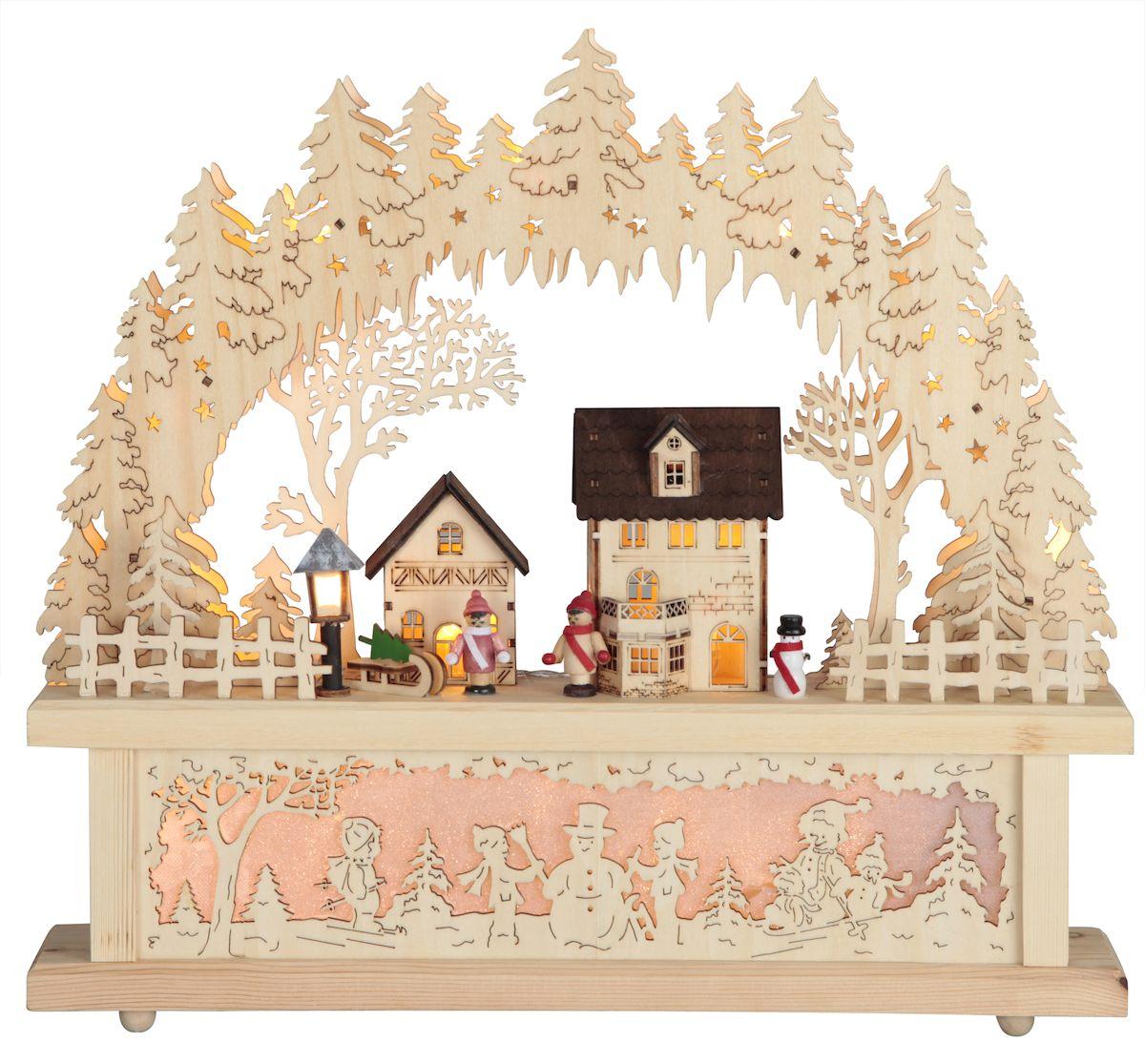 Декорация рождественская Star Trading Деревня, цвет: коричневый. 270-56270-56Декорация рождественская ДЕРЕВНЯ, 15 LED ламп, выс/шир 40х43 см, провод 5 м