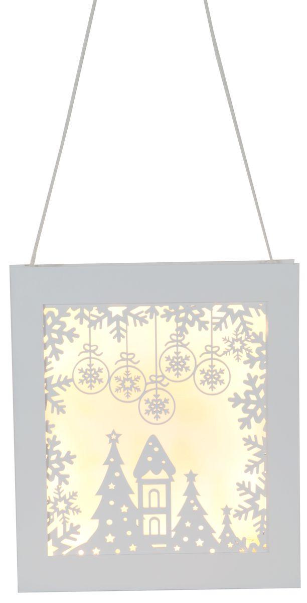 Светильник-подвес Star Trading Frame Snowflake, цвет: белый. 270-82270-82Светильник-подвес Рамка, 8 LED ламп, выс/шир 27х23 см, на батарейках, таймер, белый