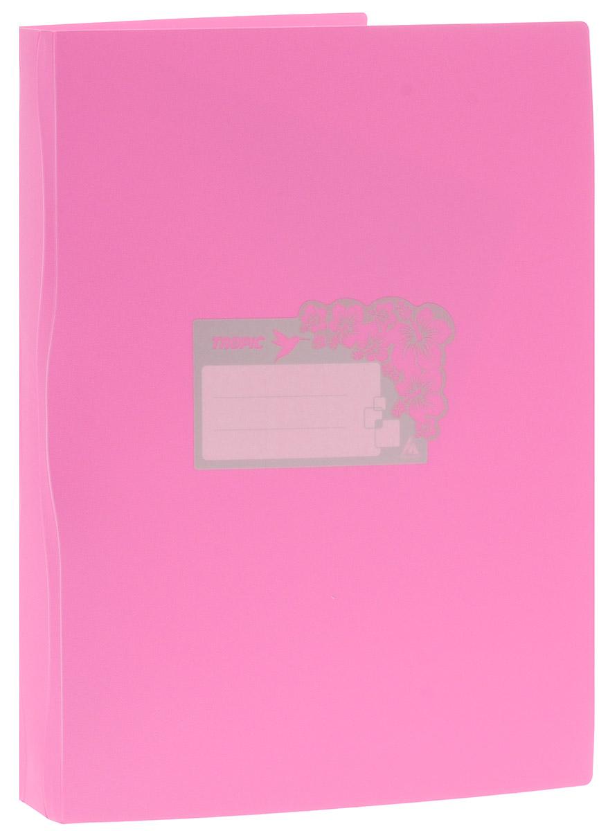 Бюрократ Папка Tropic с файлами 20 листов формат А4 цвет светло-розовый817067_розовыйПапка Tropic - это удобный и функциональный офисный инструмент, предназначенный для хранения и транспортировки большого объема рабочих бумаг и документов формата А4. Папка идеально подходит для подшивки бумаг в архивные папки без перфорирования дыроколом и для хранения различных документов. На лицевой стороне папки имеется место для ФИО владельца, оформленное рисунком с тропическими цветами. Папка изготовлена из прочного высококачественного пластика и содержит 20 прозрачных вкладышей.С такой папкой все ваши документы будут в полной сохранности.
