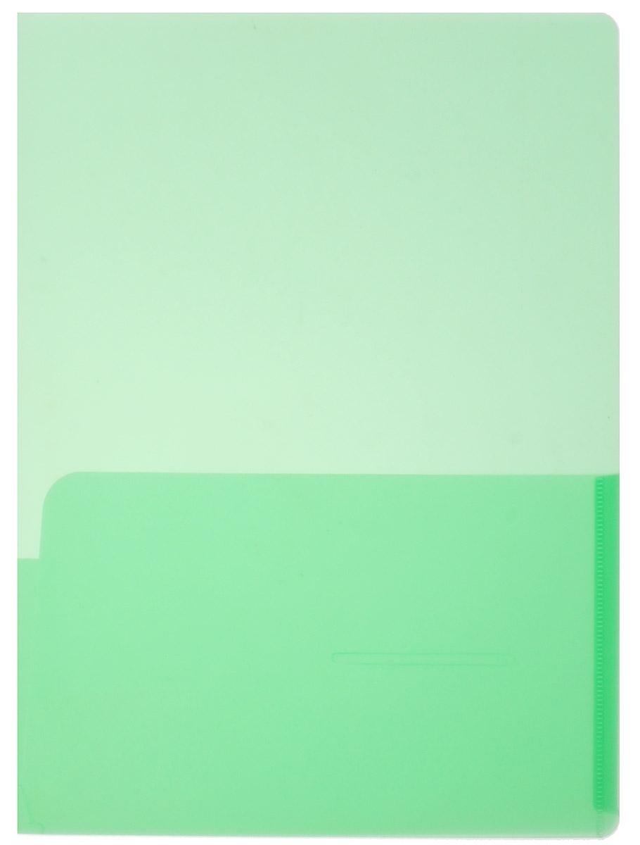 Бюрократ Папка-уголок с карманами цвет зеленый816378_зеленыйНадежная папка-уголок Бюрократ предназначена для хранения тетрадей, а также различных бумаг и документов.Папка-уголок формата А4 зеленого цвета изготовлена из износоустойчивого полипропилена. Папка имеет закругленные уголки и два внутренних горизонтальных кармана. Такая папка всегда будет сохранять ваши бумаги и документы в опрятном и чистом виде.