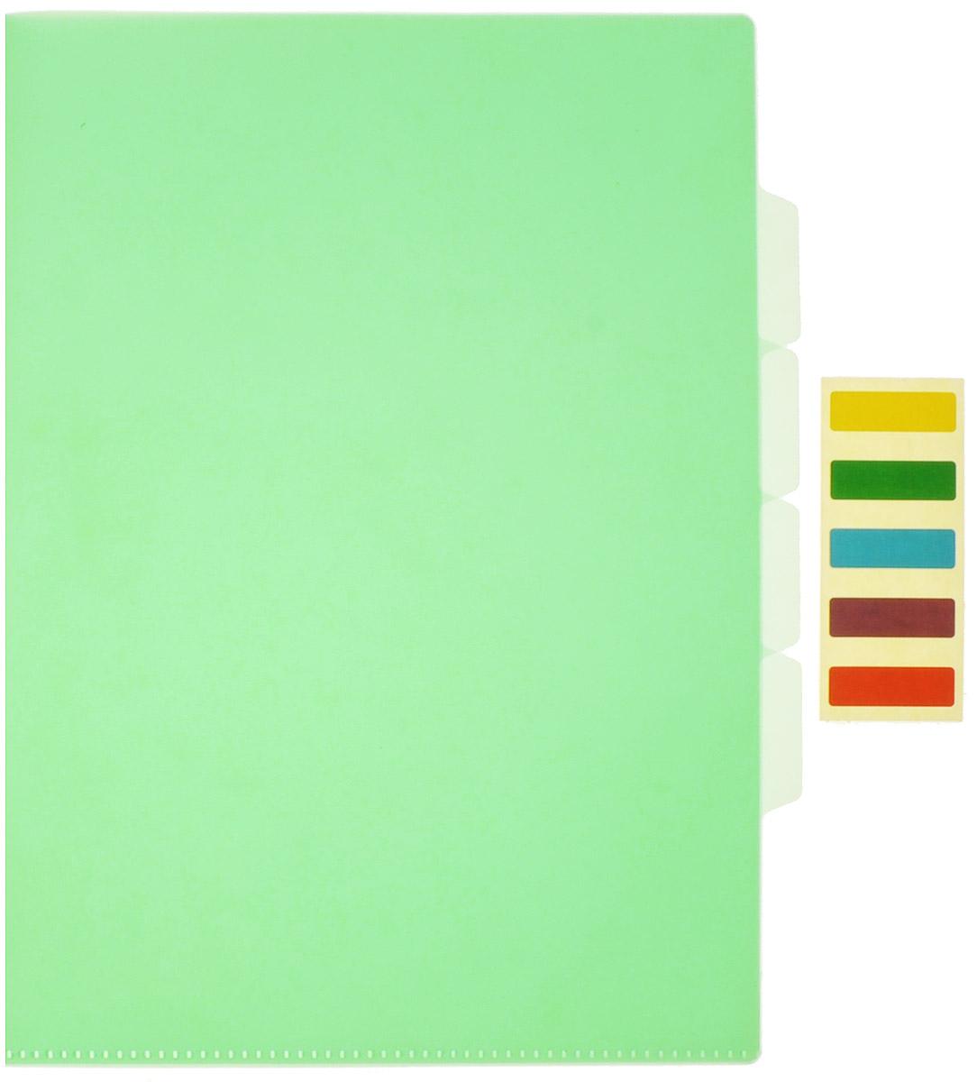 Бюрократ Папка-уголок с индексами цвет зеленый854120_зеленыйПапка-уголок Бюрократ станет вашим надежным помощником в учебных или офисных делах.Папка-уголок формата А4 изготовлена из износоустойчивого полипропилена и предназначена для хранения тетрадей и различных документов. Она имеет три отделения с разделителями для размещения бумаг и разноцветные стикеры для маркировки. Такой аксессуар всегда будет сохранять ваши канцелярские принадлежности в опрятном и чистом виде.