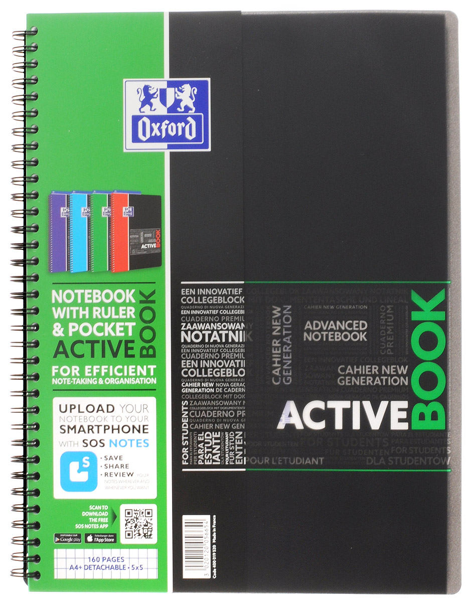 Oxford Тетрадь Sos Notes Activebook 80 листов в клетку цвет зеленый oxford тетрадь international easybook 80 листов в клетку формат а4