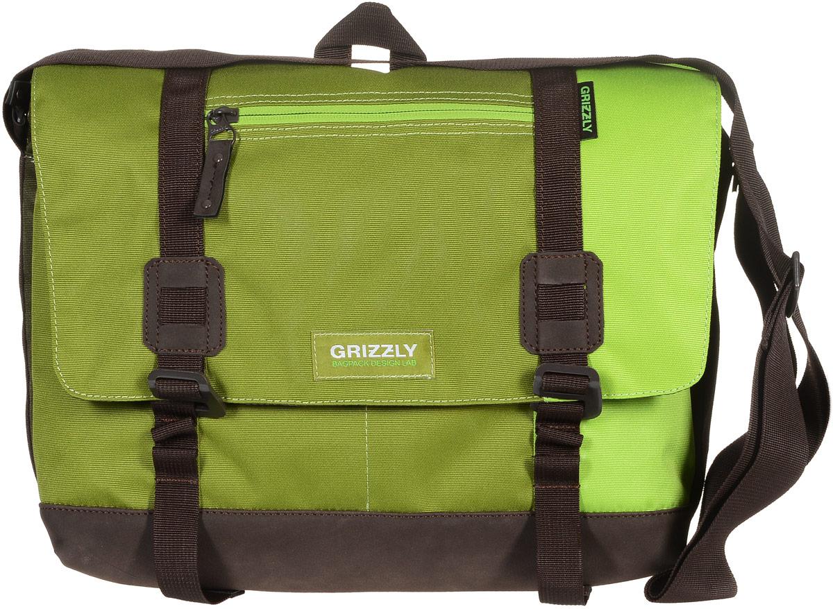 Сумка молодежная Grizzly, цвет: салатовый, зеленый, хаки, 14 л. ММ-619-3/2ММ-619-3/2Молодежная сумка Grizzly изготовлена из высококачественного плотного текстиля. Дно уплотнено материалом из экокожи. Сумка имеет одно отделение, которое закрывается на клапан с застежками-крючками, регулируемыми по высоте, и застежку-молнию. Внутри сумки расположен карман для ноутбука или планшета, а также вшитый карман на застежке-молнии.Снаружи, с фронтальной стороны сумки есть один прорезной карман на застежке-молнии и два открытых кармашка. На клапане также располагается прорезной карман на застежке-молнии, и с тыльной стороны - боковой карман на застежке-молнии. Изделие оснащено дополнительной ручкой-петлей и регулируемым плечевым ремнем.Самовыражение - одна из базовых потребностей современного человека. Оригинальные, яркие, остромодные рюкзаки от Grizzly наилучшим образом подчеркнут вашу креативность, индивидуальность и неповторимый стиль!