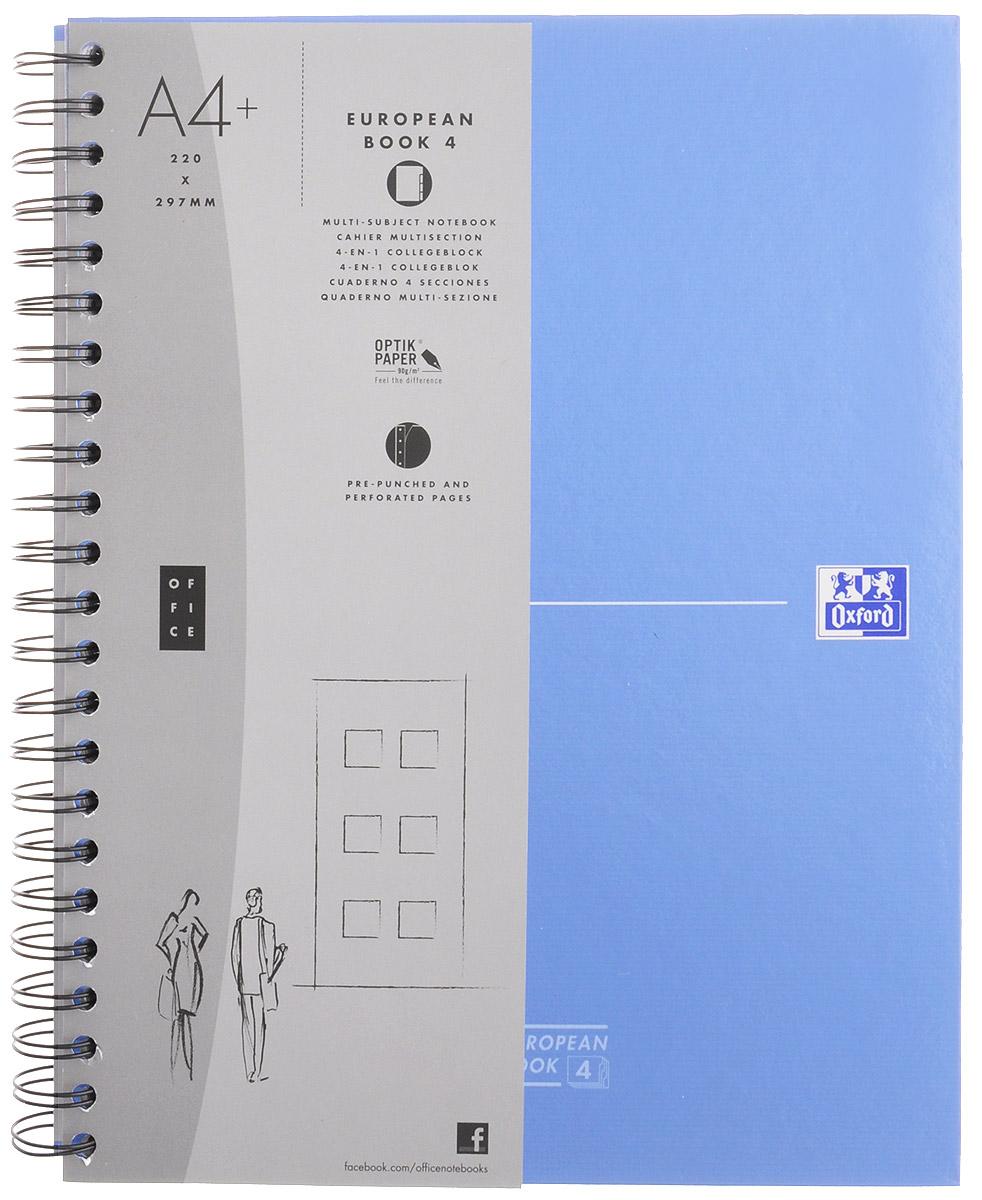 Oxford Тетрадь Officе European Book 120 листов в клетку цвет синий100104738, 817869_синийКрасивая и практичная тетрадь Oxford Officе European Book отлично подойдет для школьников, студентов и офисных служащих. Тетрадь формата А4+ состоит из 120 белых листов с четкой линовкой в клетку. Обложка тетради выполнена из жесткого ламинированного картона, благодаря чему все ваши записи и заметки всегда будут в сохранности. Листы крепятся на двойной металлический гребень. На каждом листе есть возможность проставления даты, номера страницы или записи темы.Тетрадь состоит из 4 разделов с цветными пластиковыми разделителями. Разделители можно легко вынуть или переставить благодаря удобному креплению на гребне. В тетради предусмотрена страница снабженная карманом из плотного картона для хранения листов.