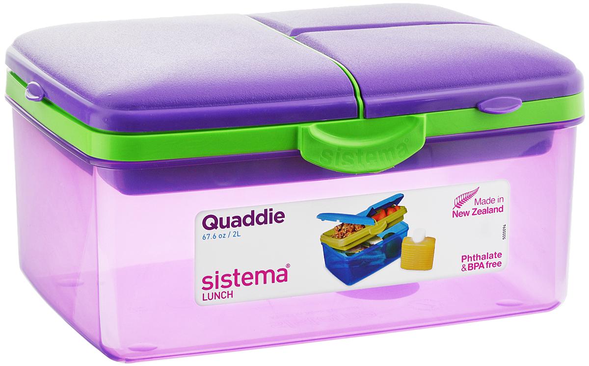 """Контейнер Sistema """"To-Go"""" имеет 4 отделения для хранения и транспортировки бутербродов, порционных салатов, мяса или рыбы, горячих и холодных блюд. Ланч-бокс для детей и взрослых позволяет взять даже сложный обед, из нескольких блюд, в одном компактном контейнере. Контейнер надежно закрывается клипсами. Удобная маленькая бутылка позволит взять с собой воду или любимый напиток. Ланч-бокс состоит из большого, среднего и двух маленьких отделений.  Размеры большого отделения: 21 х 14 х 9 см. Размеры среднего отделения: 12 х 9,5 х 3,5 см. Размеры одного маленького отделения: 9,5 х 6 х 3,5 см. Объем бутылки: 250 мл."""