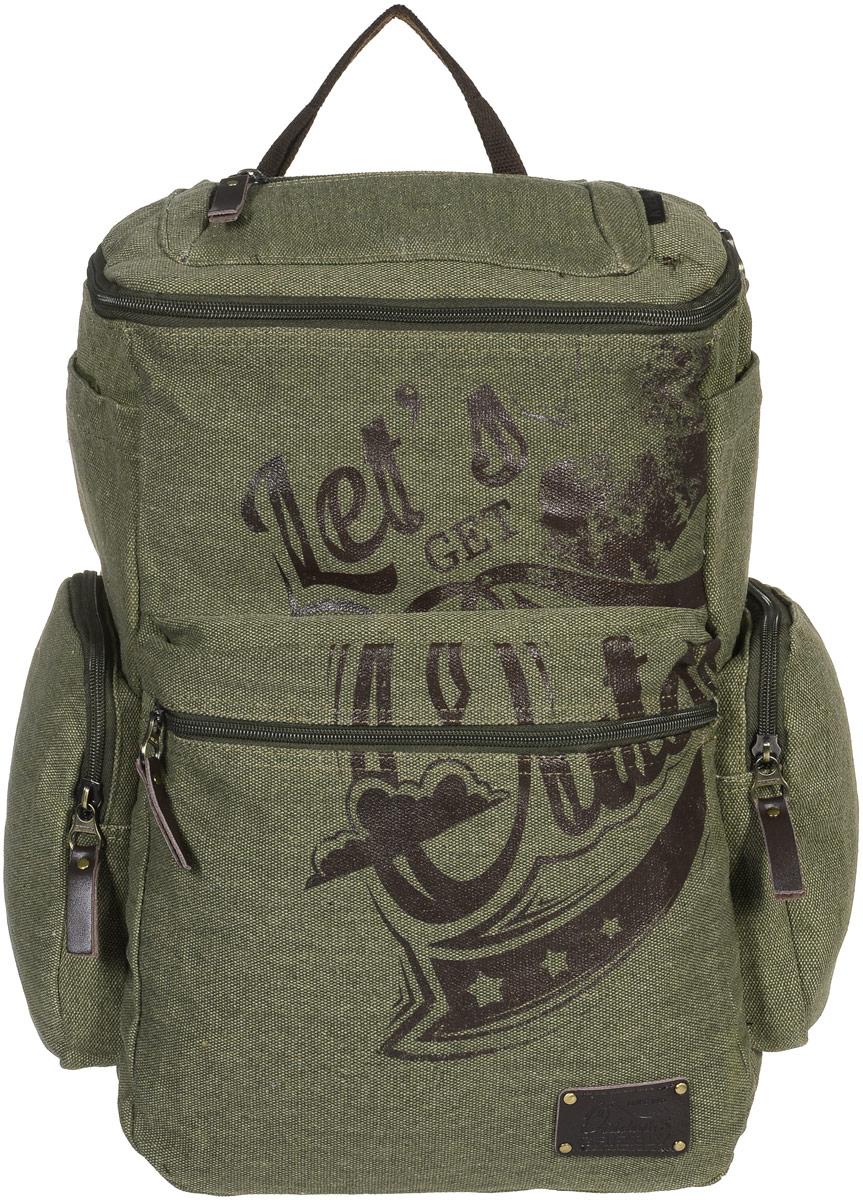 Рюкзак молодежный Grizzly, цвет: болотный, 30 л. RU-702-1/1