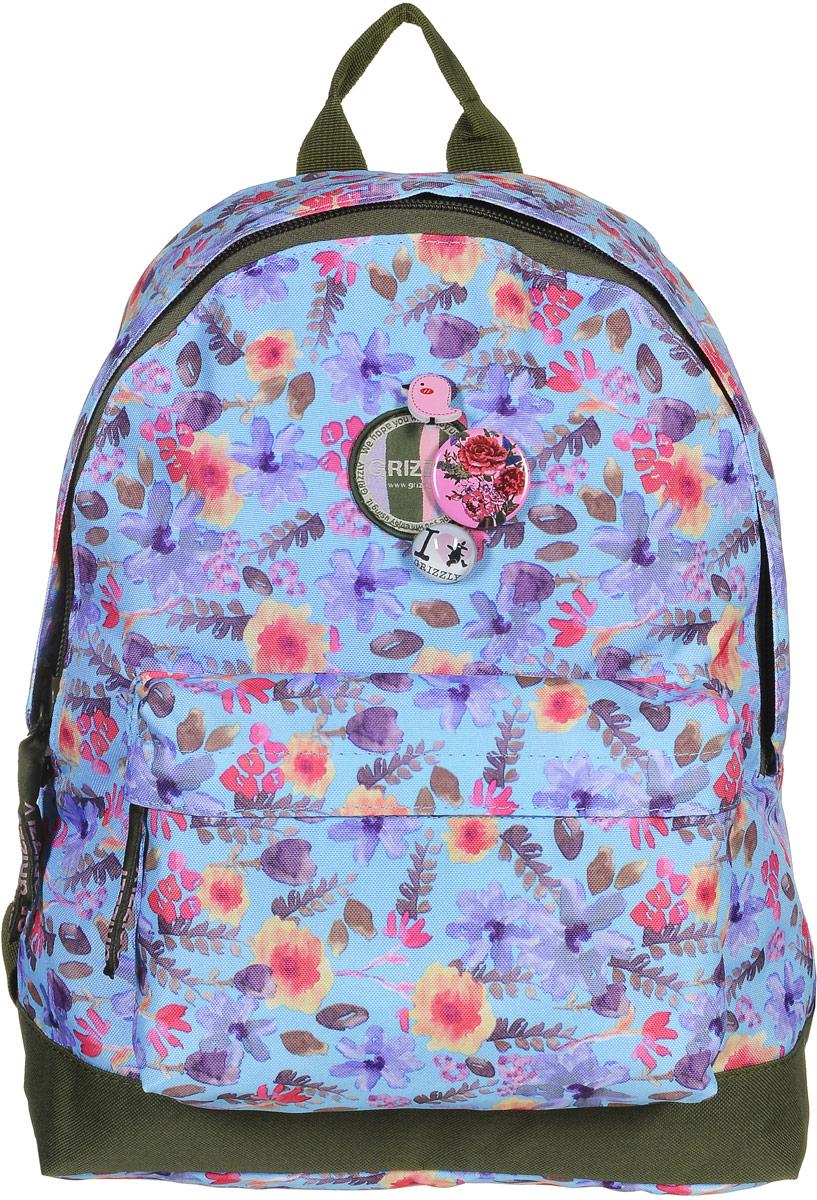 Рюкзак молодежный Grizzly, цвет: голубой, 18 л. RD-646-1/9RD-646-1/9Молодежный рюкзак выполнен из высококачественного полиэстера с красочным принтом в виде полевых цветов. В рюкзаке расположено одно основное отделение, которое закрывается на круговую застежку-молнию с двумя бегунками. Внутри рюкзака есть прорезной карман на застежке-молнии.Снаружи, с фронтальной стороны расположен объемный карман на застежке-молнии. Рюкзак оснащен широкими лямками, которые регулируются по длине, и дополнительной ручкой-петлей для удобства переноски. Рюкзак декорирован тремя съемными значками.Самовыражение - одна из базовых потребностей современного человека. Оригинальные, яркие, остромодные рюкзаки от Grizzly наилучшим образом подчеркнут вашу креативность, индивидуальность и неповторимый стиль!