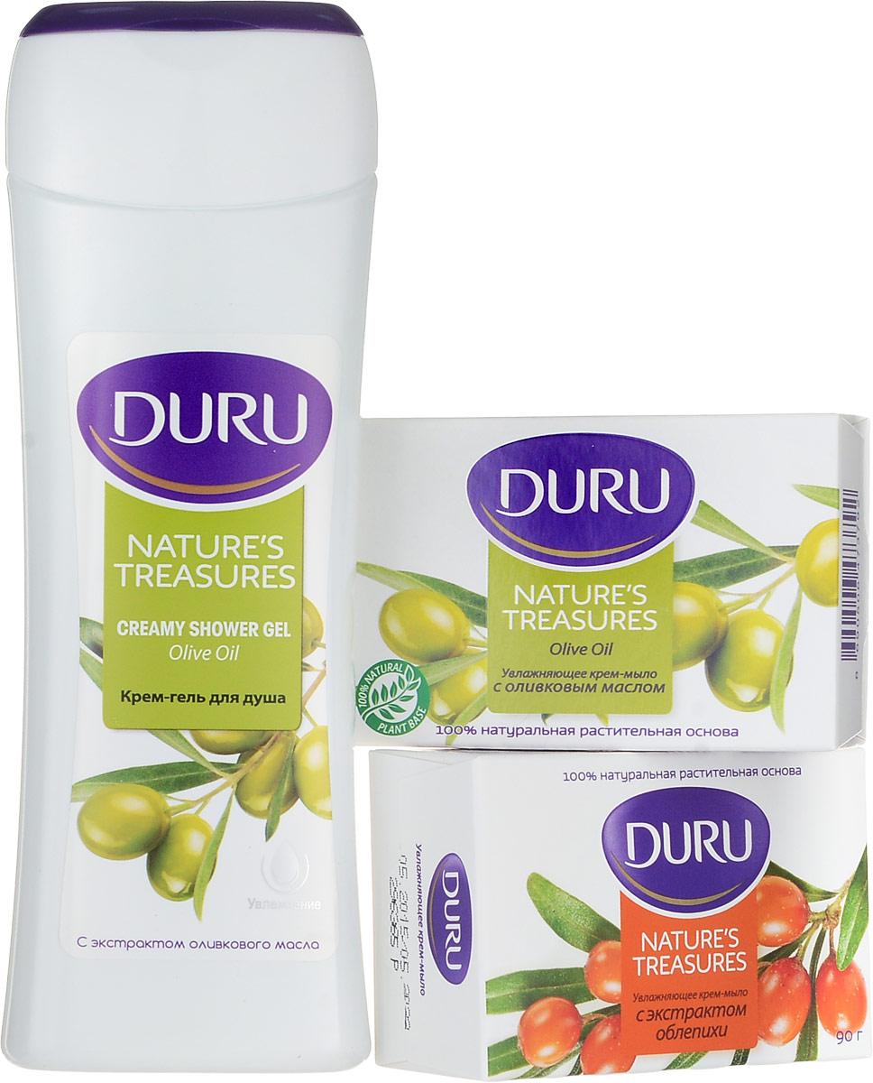 Duru Nature's Treas: Гель для душа + 2 мыла NT (оливка и облепиха) (1 мыло cо скидкой) Duru