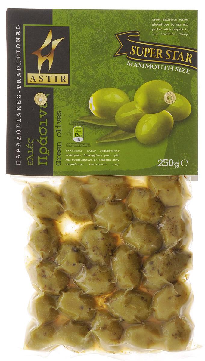 Astir Оливки зеленые с косточкой, 250 г santolino оливки гигант зеленые с косточкой 314 мл