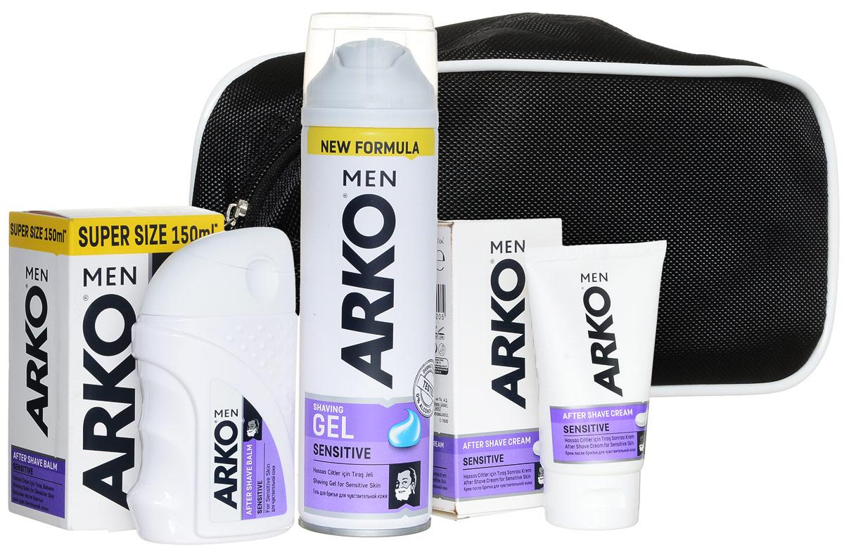 Arko Sensitive: Гель д/бр + бальзам + крем п/бритья+ косметичка (в подарок)80057528Гель для бритья уменьшает риск возникновения жжения кожи от бритья, благодаря формуле алое вера и маслом лаванды, для мужчин с чувствительной кожей.