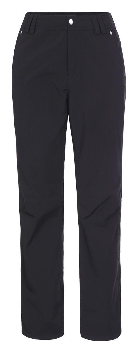 Брюки женские Luhta Sabina, цвет: черный. 636703382LV. Размер 44 (50)636703382LVЖенские брюки от Luhta выполнены из эластичного полиэстера, с изнаночной стороны они утеплены флисом. Модель застегивается на пуговицу и крючок в талии и ширинку на молнии, имеются шлевки для ремня. Спереди брюки дополнены двумя врезными карманами, сзади двумя врезными карманами на застежках-молниях. Низ брючин дополнен утяжками со стопперами.